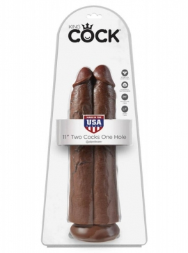 King Cock 11 inch Two Cocks One Hole