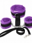 Soft Handcuffs To Collar With Leash Purple Black
